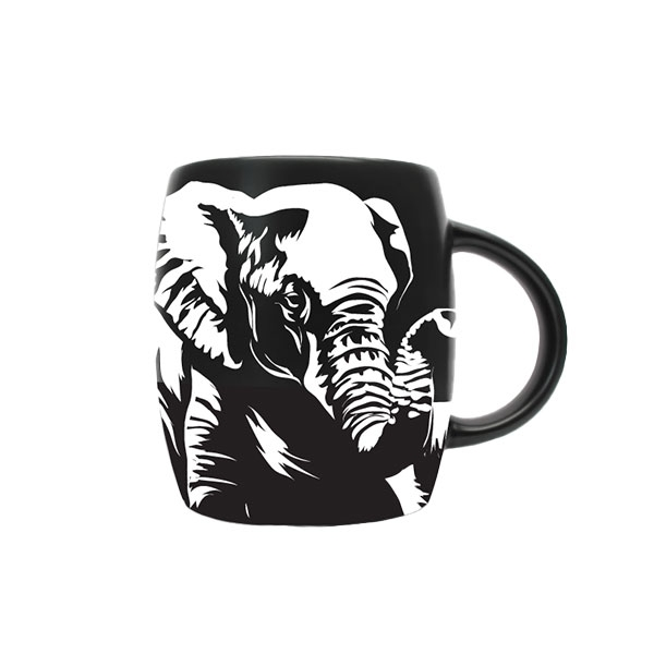MUG ETCHED ELEPHANT